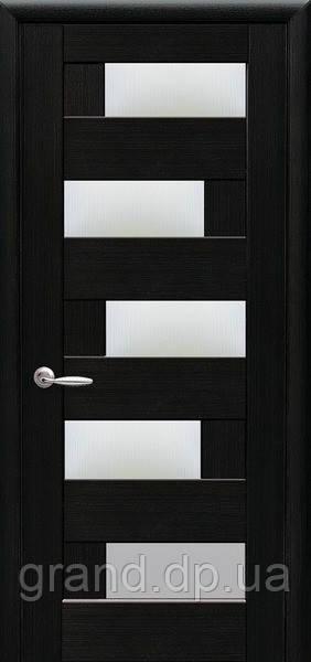 Межкомнатная дверь  Пиана ПВХ DeLuxe с матовым стеклом ,цвет венге new