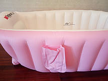 Надувная ванночка детская переносная портативная ванна с ножным насосом и подушкой, розовая (настоящие фото), фото 2