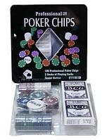 Покерный набор в железной коробке.
