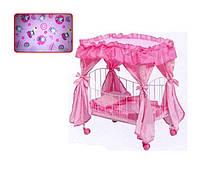Кроватка для куклы METR+ 9350 / 015 на колесиках с балдахином HN