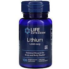 "Литий Life Extension ""Lithium"" для работы мозга, 1000 мкг (100 капсул)"