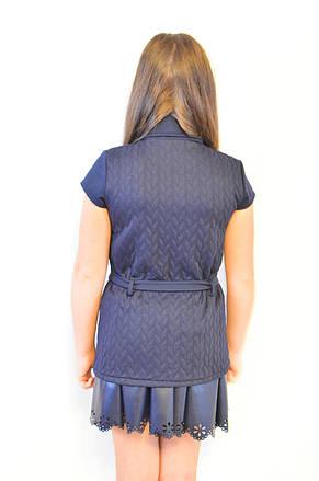 Красивая недорогая трикотажная синяя кофта-жилетка для девочки ., фото 3