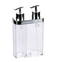 Двойной кухонный дозатор для мыла прозрачный Viva Prima Nova
