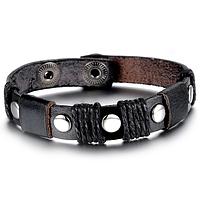 Кожаный браслет с заклепками , фото 1