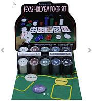 Покерный набор на 200 фишек в металлической коробке.