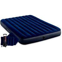 Надувной матрас 64765 Classic Downy Airbed Fiber-Tech, 152х203х25см с подушками и насосом