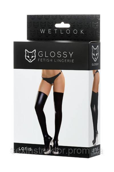 Чулки Glossy из материала wetlook, черный