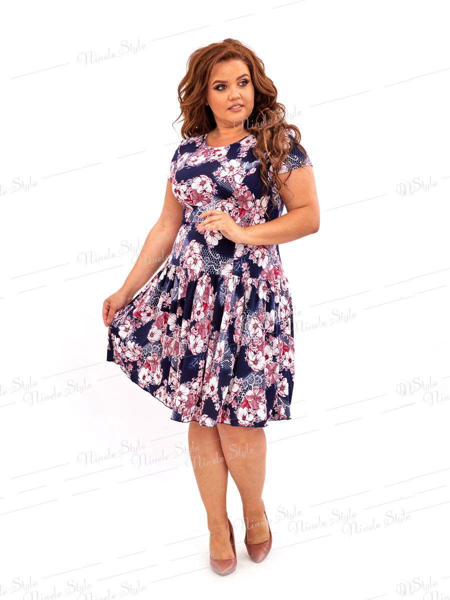 Повседневное платье  синего цвета 436-10 54
