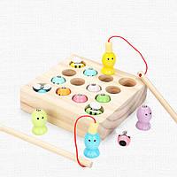 Деревянная игрушка Игра-рыбалка «Рыбки-пчелки», развивающие товары для детей.