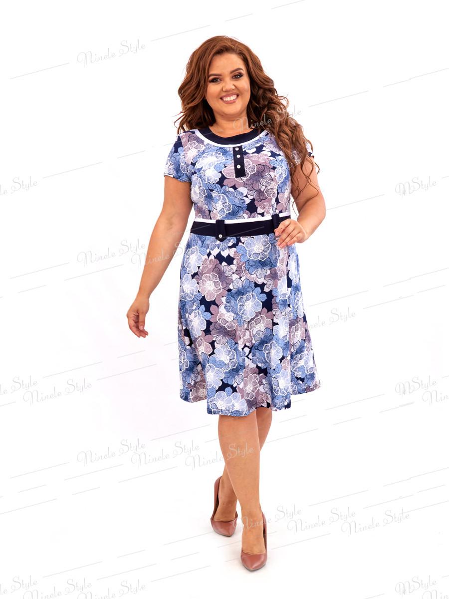 Повседневное платье с цветочным принтом 462-3 54