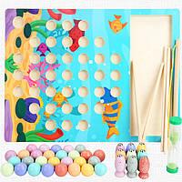 Деревянная игрушка Рыбалка с цветными шариками и рыбками, развивающие товары для детей.