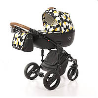 Всесезонная детская коляска-трансформер 2 в 1 для новорожденных Limited Edition Junama PacMan Черный с желтым