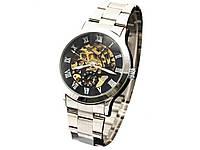 Часы Winner мужские механические  Белый с черным циферблатом