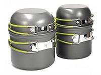 Туристический набор посуды с антипригарным покрытием (2 котелка + 2 чашки) 4 в 1