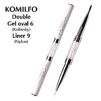 Komilfo Пензель Double Gel oval 6 (Kolinsky)/Liner 9 (Nylon)