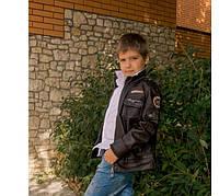 Детская куртка  из PU кожи коричневая  р.16 (11-12лет)