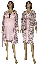 Комплект у пологовий будинок, нічна сорочка і халат 19004 Амариліс Вензель коттон Рожево-коричневий