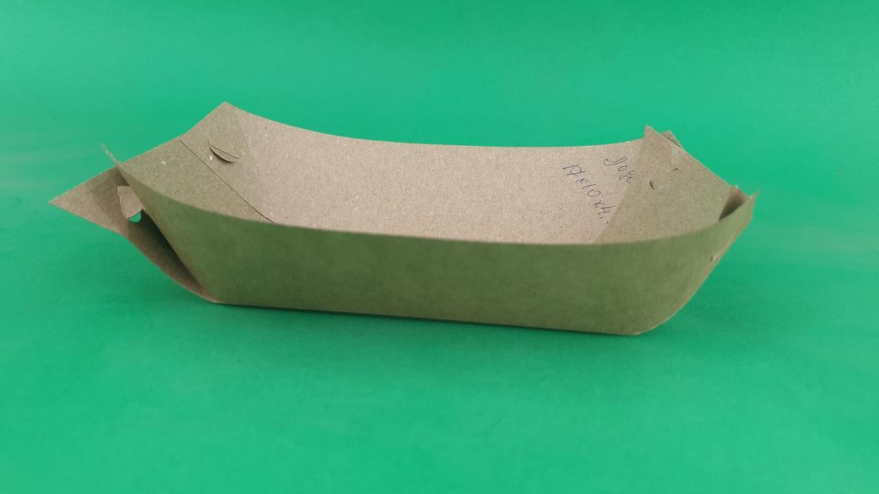 Тарелка лодочка крафт без сборки без ламинации 170*100*40, 100 шт/пач