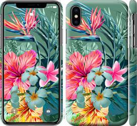 "Чехол на iPhone X Тропические цветы v1 ""4667c-1050-328"""