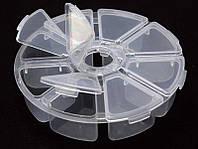 Пластмасовый ящик для радиодеталей, диаметр 100мм, 8 отделений