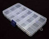 Пластмасовый ящик для радиодеталей, диаметр 175х25х100мм, 15 отделений