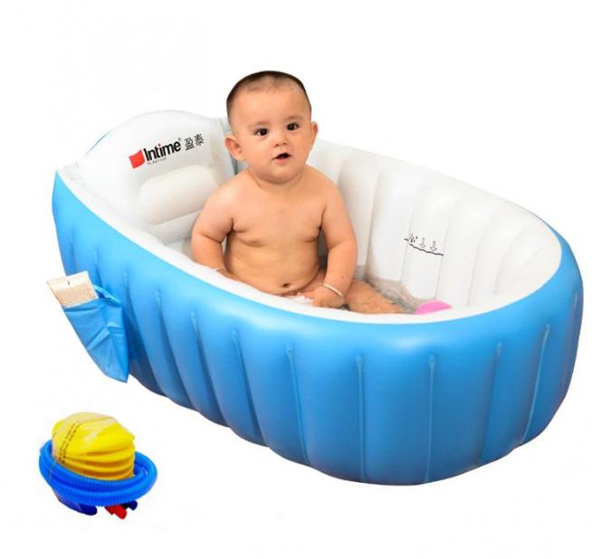 Надувная ванночка детская переносная портативная ванна с ножным насосом и подушкой, синяя (настоящие фото)