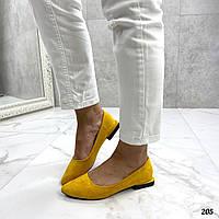 Желтые замшевые туфли на плоской подошве, фото 1