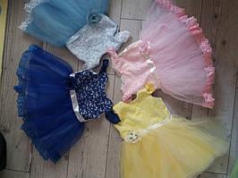 Плаття для дівчаток на 1 рік з фатіном ріст 80-86 ,колір розовий та голубенький