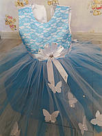 Плаття голубеньке з метеликом 3-4 роки