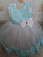 Плаття атлас фатін з мереживом, бірюза, розове 4-5 років