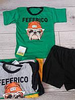 Літні костюми для хлопчика футболка шорти з Feffrico. зелені сірі жовті 98-104,110-116,134-140