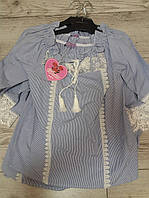 Сорочка для дівчинки з мереживом на завязку розмір 28,30,32,34,36  Туречина