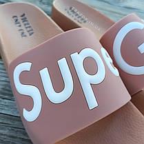 РОЗМІРИ 36, 38 Super Girl рожеві на танкетці Шльопанці на платформі пудрові тапочки жіночі шльопанці, фото 2