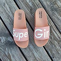 РОЗМІРИ 36, 38 Super Girl рожеві на танкетці Шльопанці на платформі пудрові тапочки жіночі шльопанці, фото 3