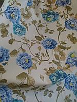 Ткань в стиле прованс, 100 % хлопок, Испания, рисунок синие и бирюзовые цветы на молочном фоне