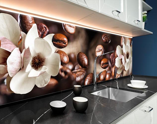 Кухонный фартук с кофейными зернами и цветами 62х205 см (под заказ любой размер)