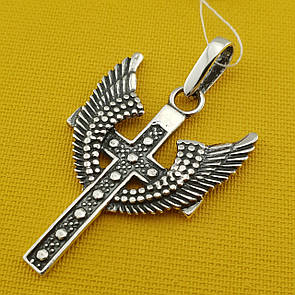 Серебряный крест. Кулон с крыльями из серебра