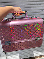 Профессиональный алюминиевый кейс для косметики цвета  черный, розовый хамелеон , светло коричневый хамелеон