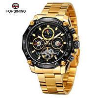 Оригинальные наручные часы Forsining 6913 Gold-Black Механика с автоподзаводом