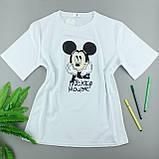 Білі підліткові футболки з бавовни, оверсайз, фото 2