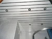 Комплект реечного потолка белый 84мм + супер-хром 2х1,5м