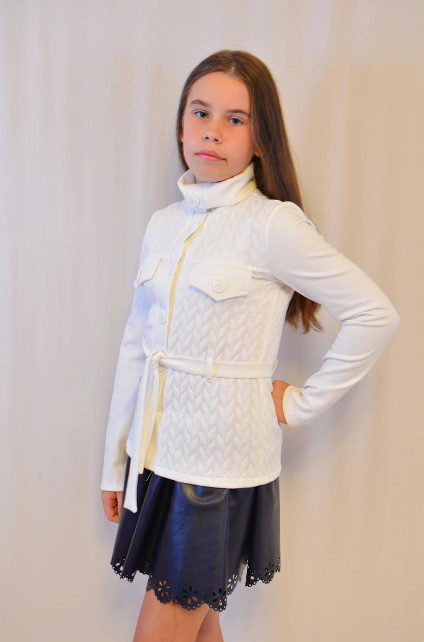 Красивая нарядная недорогая трикотажная  кофточка для девочки с длинным рукавом .
