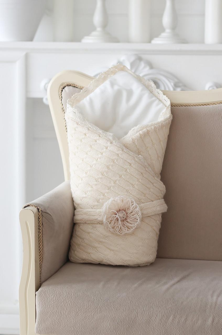 Вязаный конверт на выписку одеяло беж, цена 590 грн ...
