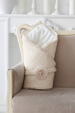 Вязаный конверт на выписку одеяло беж