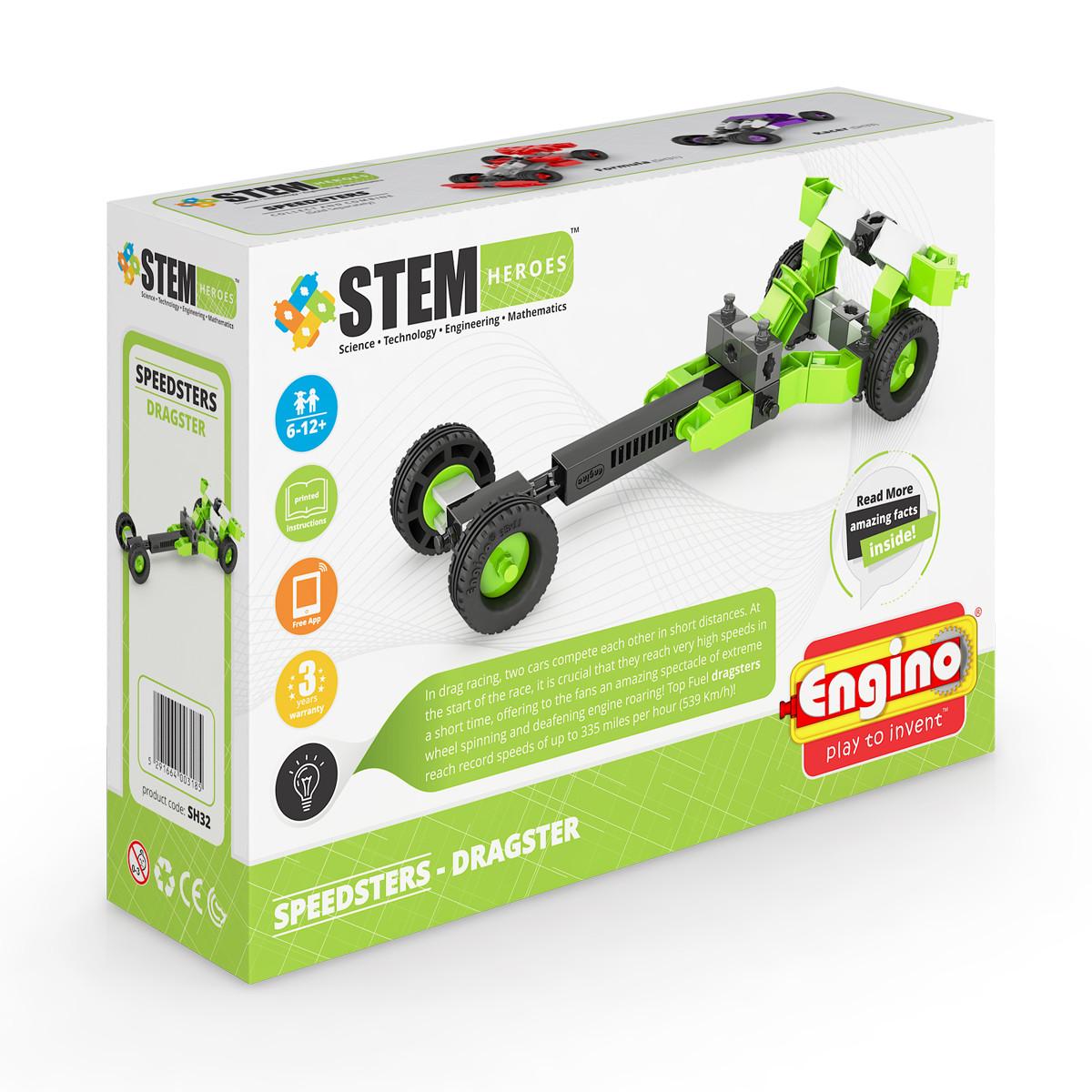 Конструктор Engino Спортивные автомобили: драгстер - серия Stem Heroes, SH32