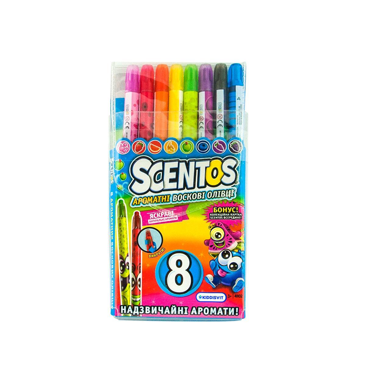 Scentos Набор ароматных восковых карандашей для рисования - Радуга, 8 цветов, 41102