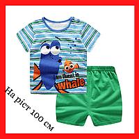Костюм для мальчика на 1-2 года Летний костюм на рост 100 см Детские футболка и шорти