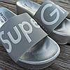 Super Girl серебряные на танкетке Шлепки на платформе тапочки тапки женские пляжные шльопанці срібні, фото 3
