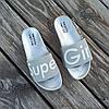 Super Girl серебряные на танкетке Шлепки на платформе тапочки тапки женские пляжные шльопанці срібні, фото 6