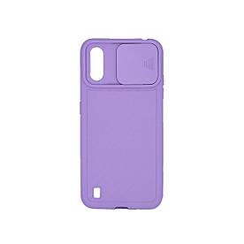 Чехол накладка для Samsung Galaxy A01 A015 силиконовый со шторкой для защитой камеры, Фиолетовый